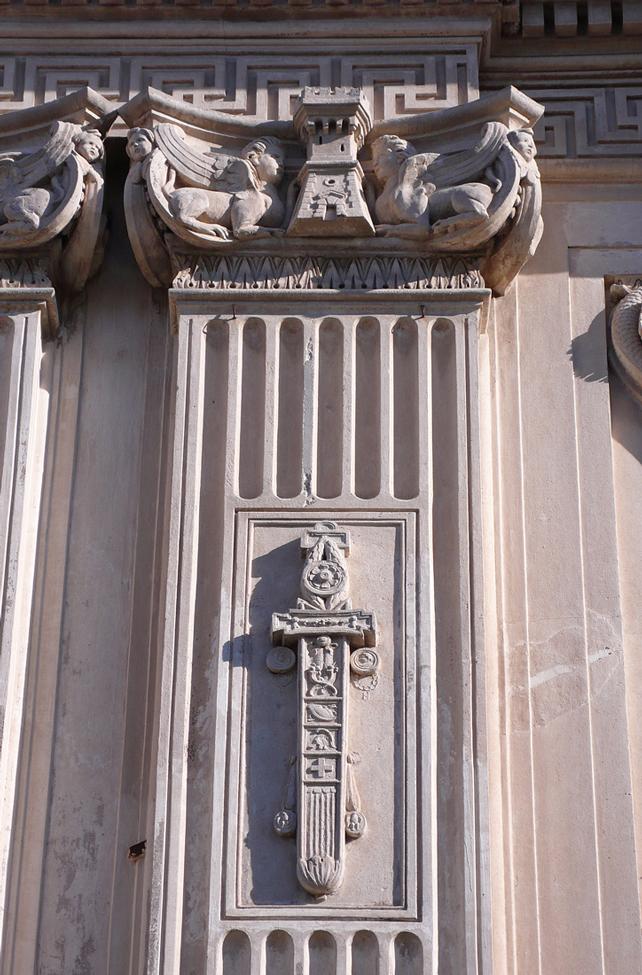 Santa Maria del Priorato, Rome, façade, detail, 1764-66